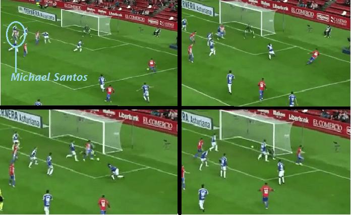 Jugada del 1-0 logrado por Michael Santos para el Sporting (Imagen: YouTube)