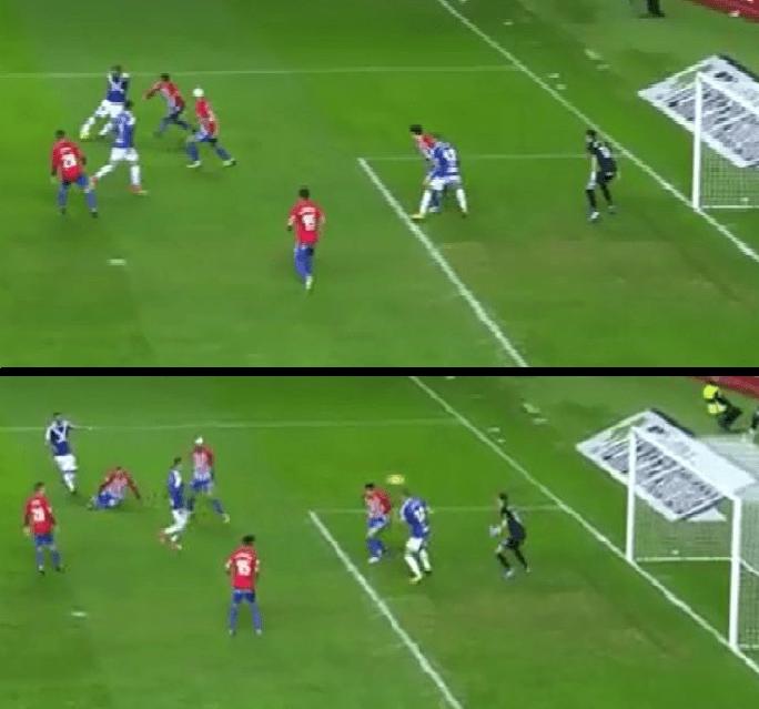 Situación de Longo en el gol anulado al Tenerife (Imagen: YouTube)