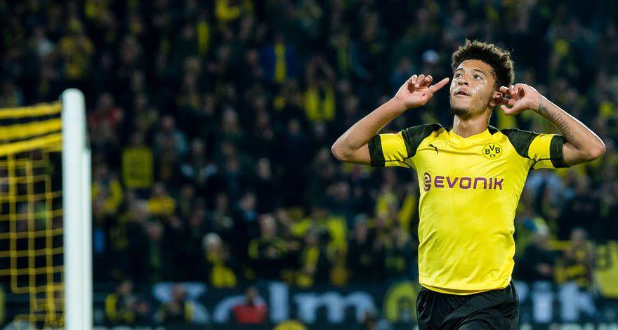 Sancho celebrando un gol esta temporada.