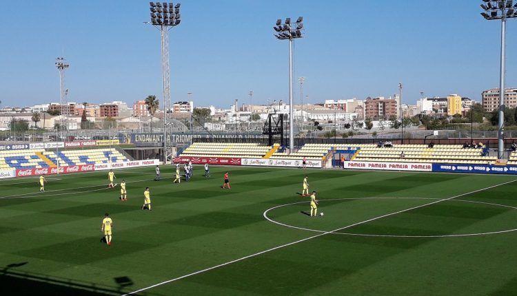 """Momento en el que el CD Ebro marca el gol del empate frente al Villarreal """"B"""""""