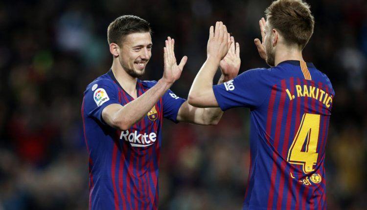 Lenglet celebra con Rakitic el gol que abrió el marcador en el Camp Nou (Foto: FC Barcelona)