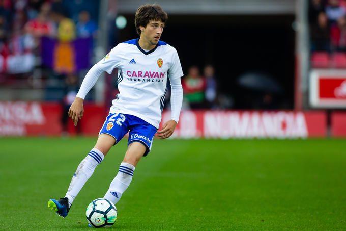 Delmás en un partido con el Real Zaragoza