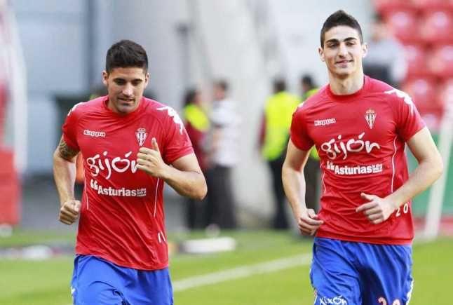 Carmona y Borja López en el calentamiento previo a un encuentro de la temporada 2012/2013