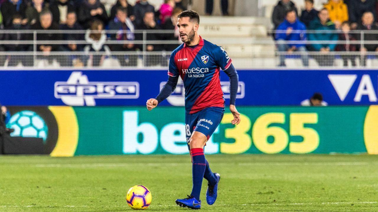 Pablo Insua la pasada temporada con el Huesca
