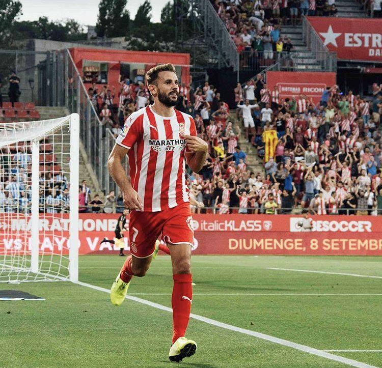 Cristhian Stuani celebrando su primer gol con el Girona