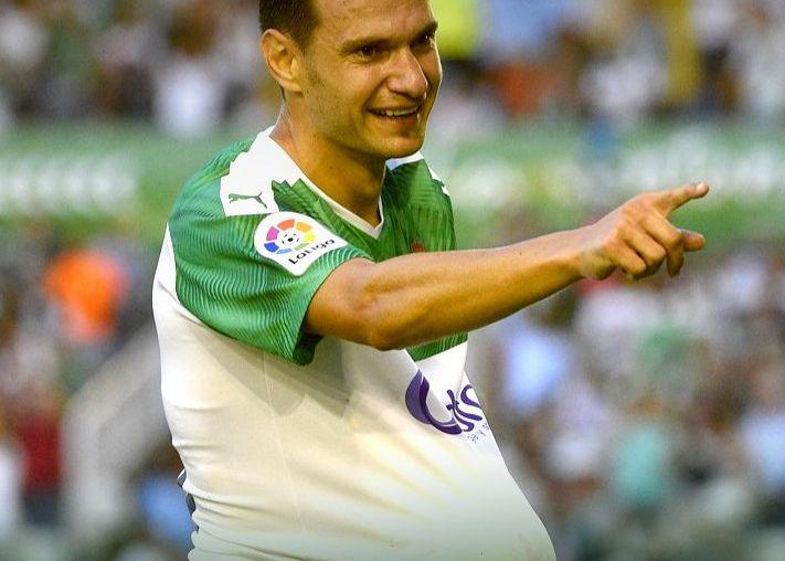 David Rodríguez celebra el 3-0 en el día de hoy