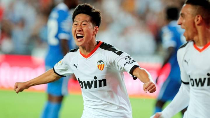 Kangin Lee celebra el gol frente al Getafe