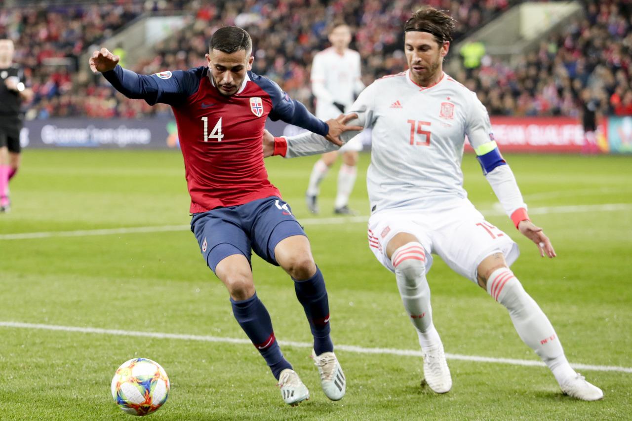 Sergio Ramos en el Noruega-España