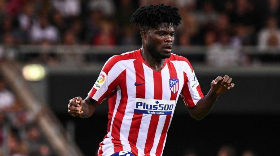 Thomas Partey en un partido con el Atlético de Madrid