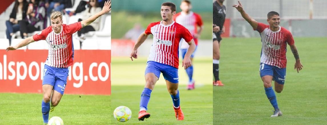 César García, José Gragera y Bertín González son tres de los pilares básicos en el filial que el Sporting tiene atados
