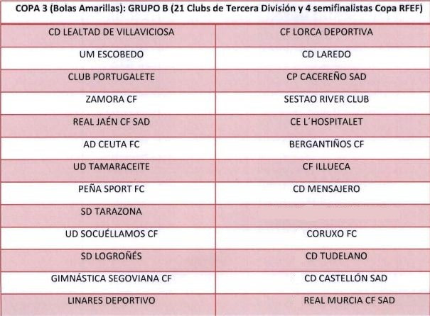 Copa 3. Equipos de Tercera División y semifinalistas de la Copa RFEF