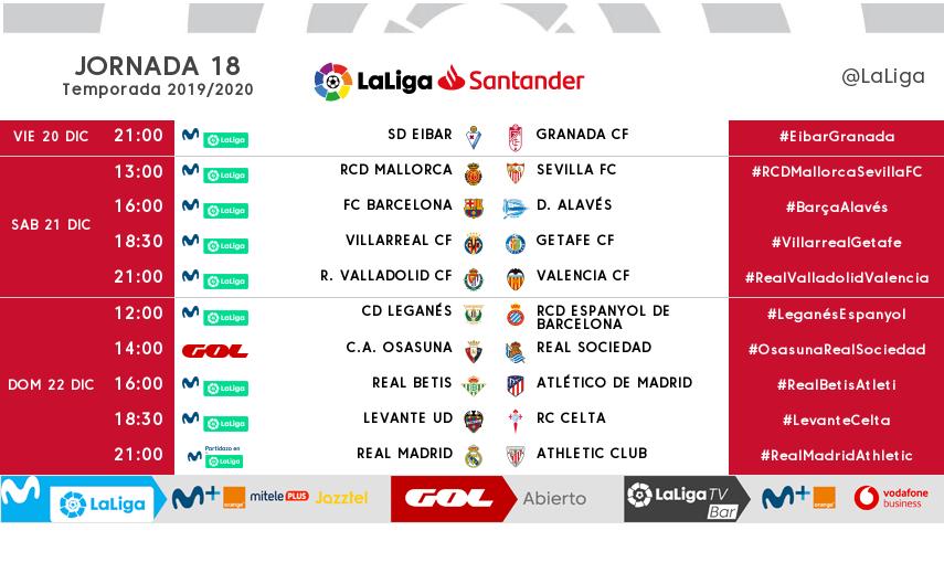 Horarios jornada 18. LaLiga Santander