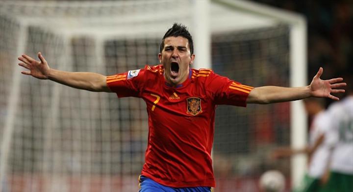 David Villa celebra el gol a Portugal en los octavos de final del Mundial de Sudáfrica en 2010