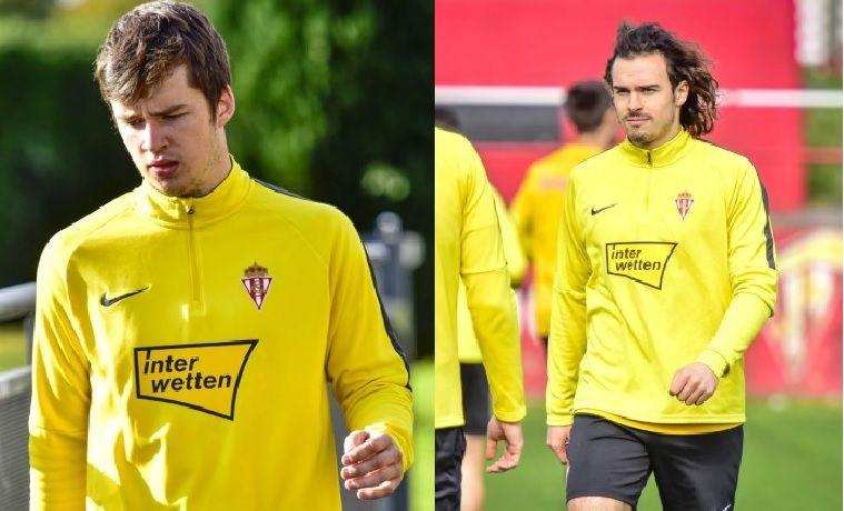 Guille Rosas y Pelayo Suárez en un entrenamiento con el primer equipo