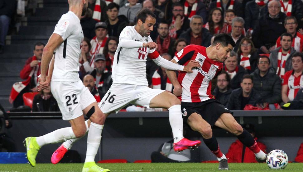 Víctor Diaz en la ida de semifinales de Copa