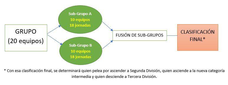 Diagrama de como será la categoría de bronce el próximo curso