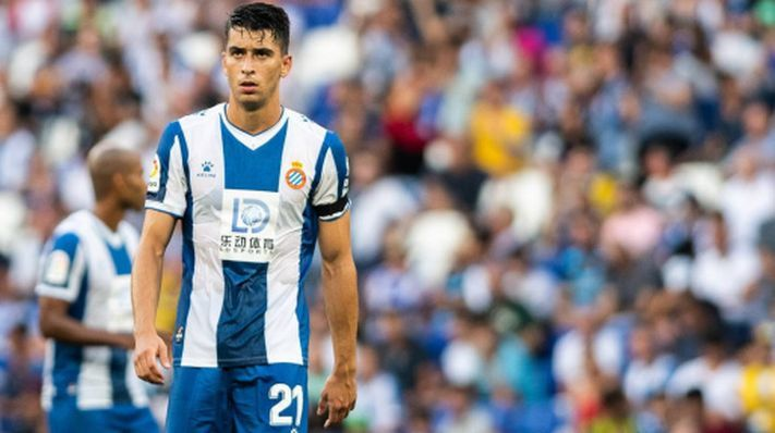 Marc Roca en un partido con el RCD Espanyol