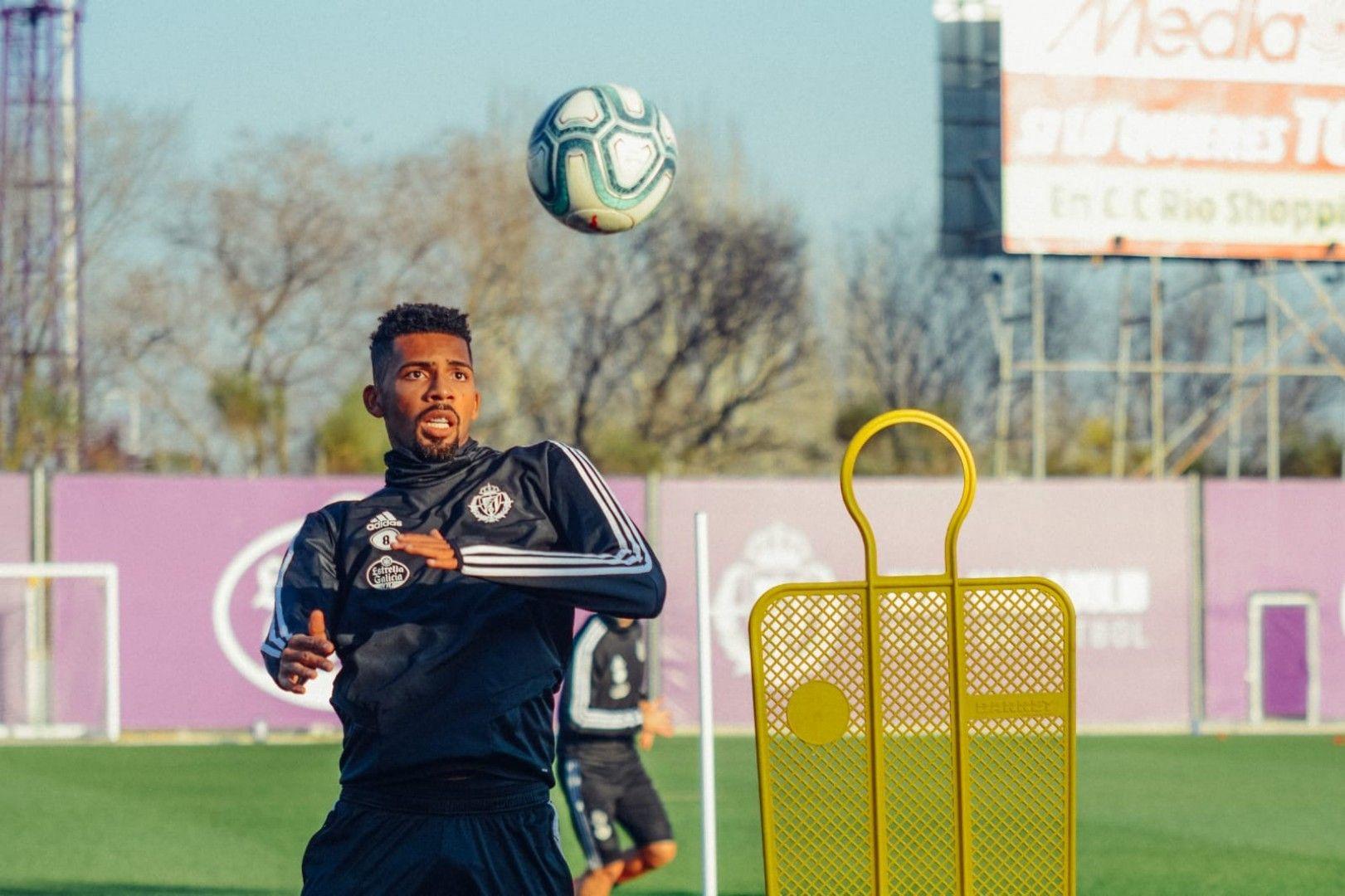 Matheus Fernandes en un entrenamiento el pasado curso con el Real Valladolid