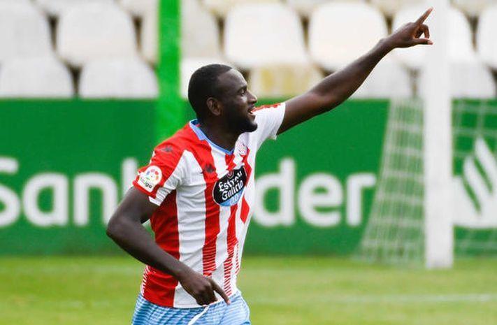 Mouctar El Hacen celebra un gol en los Campos de Sport de El Sardinero