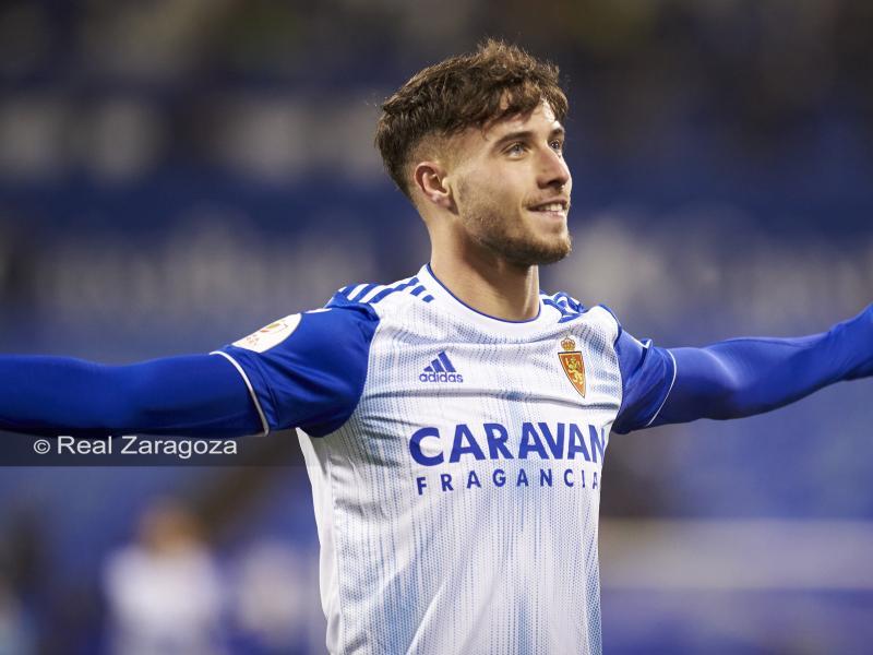 Javi Puado celebra un tanto en su estancia en el Real Zaragoza