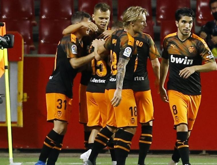 Celebración de un gol del Valencia