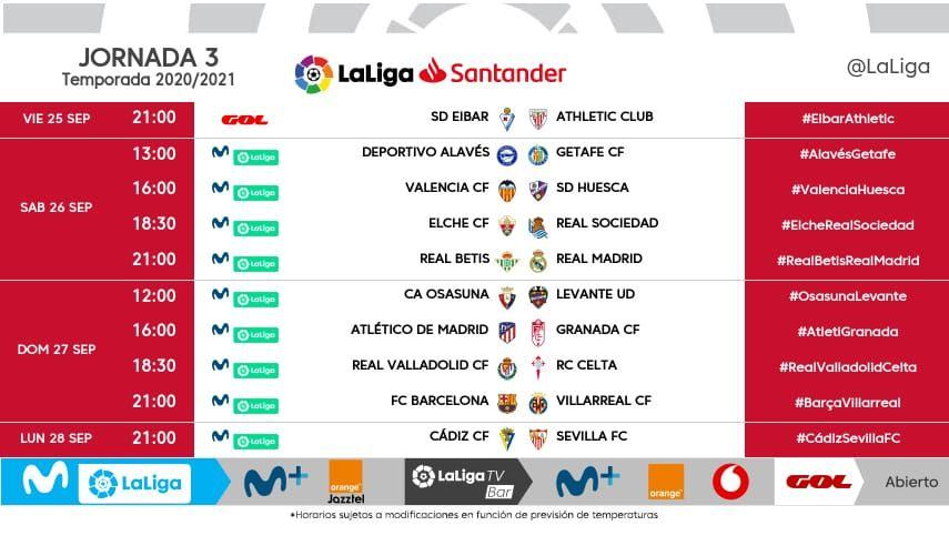 Horarios J3 de LaLiga Santander