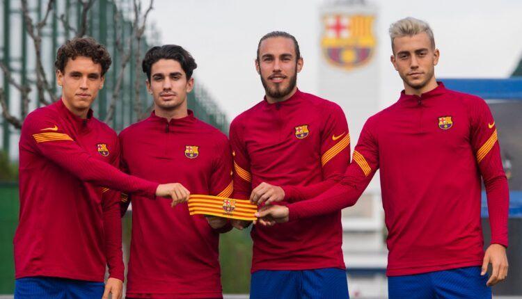 Álex Collado, Òscar Mingueza, Oriol Busquets y Jandro Orellana, los capitanes del Barça 'B'.   Foto: @FCBarcelonaB