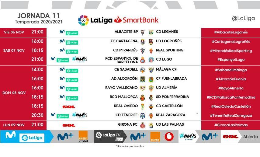 Horarios para la jornada 11 de LaLiga SmartBank