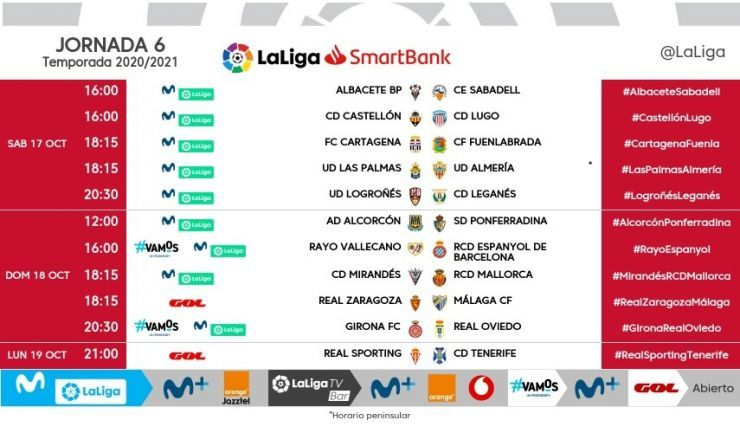 Horarios de la jornada 6 de LaLiga SmartBank