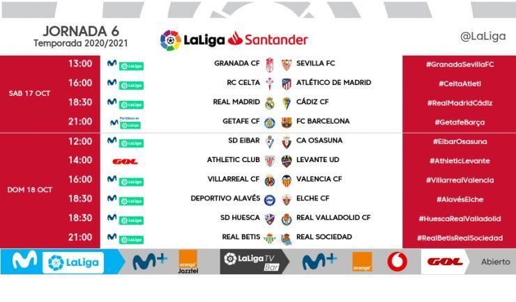 Horarios de la jornada 6 de LaLiga Santander