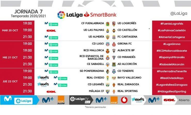 Horarios de la jornada 7 de LaLiga SmartBank