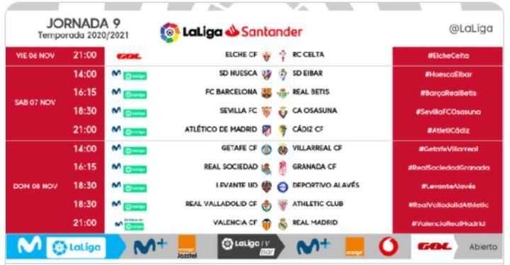 Horarios de la jornada 9 de LaLiga Santander