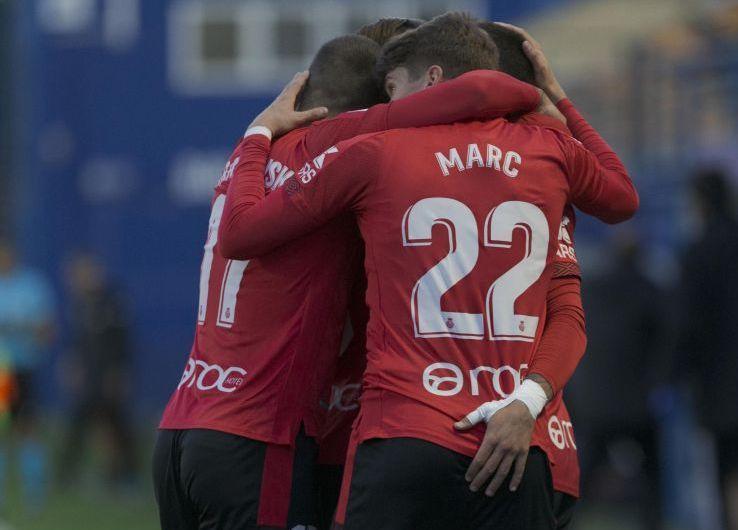 Celebración de un gol de Marc Cardona con el Mallorca