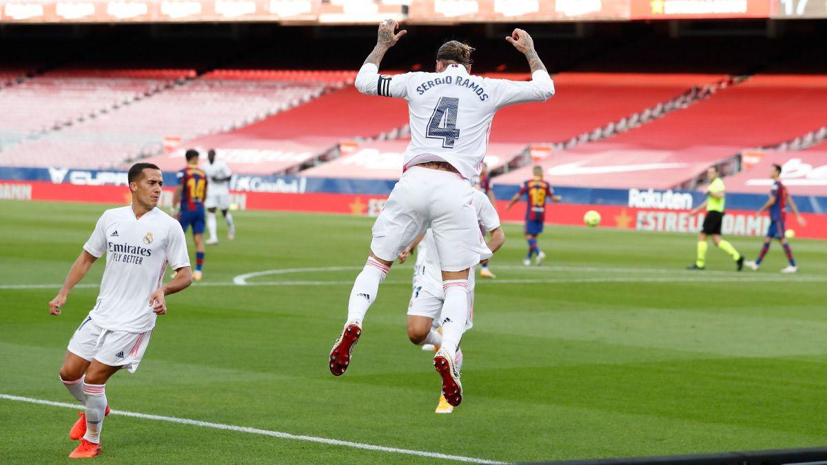 Celebración del gol de penalti de Sergio Ramos