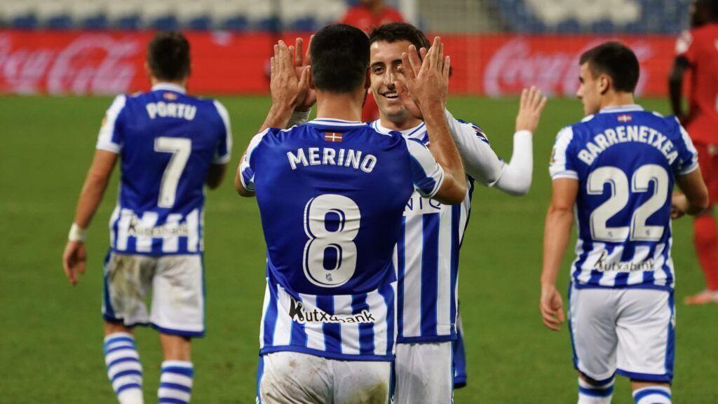 Merino y Oyarzabal celebran el gol ante el Getafe CF Fuente: Twitter Real Sociedad