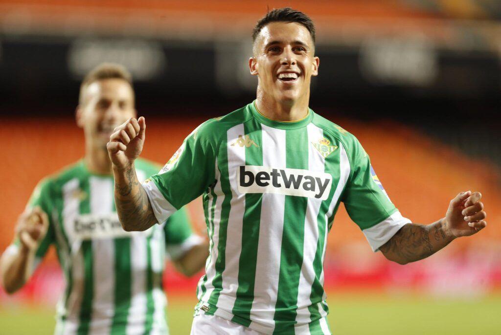 Cristian Tello celebra su gol ante el Valencia CF Fuente: Twitter Real Betis