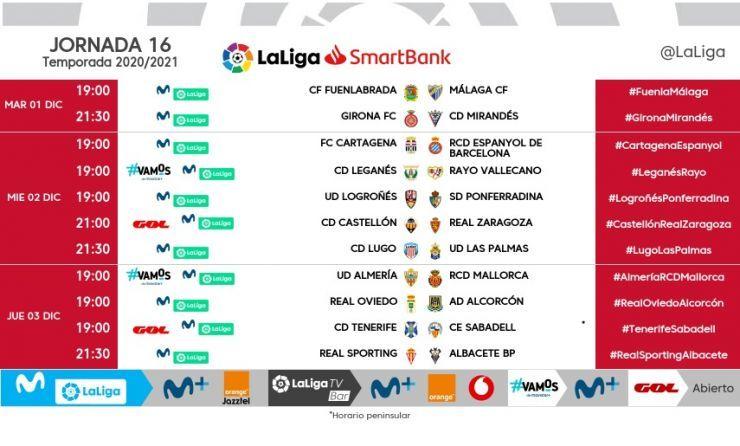 Horarios de la jornada 16 de LaLiga SmartBank