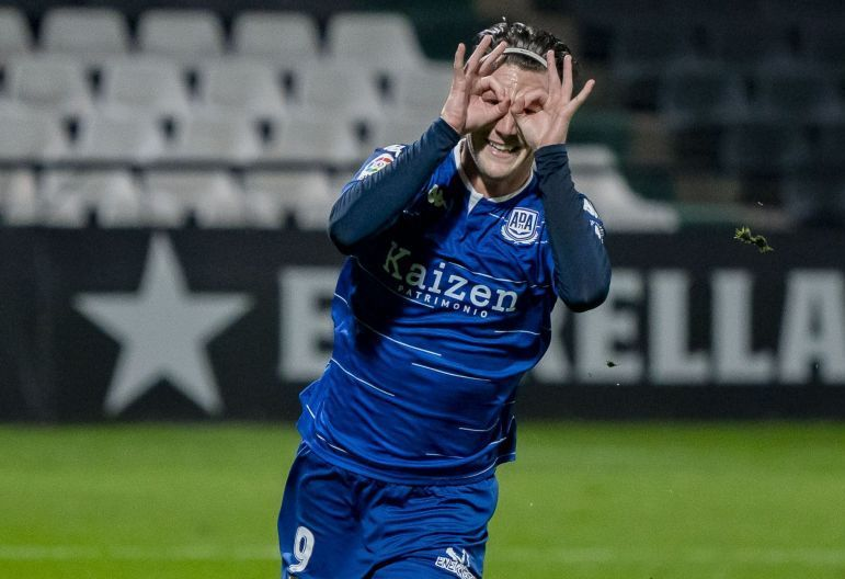 Marc Gual celebrando un gol