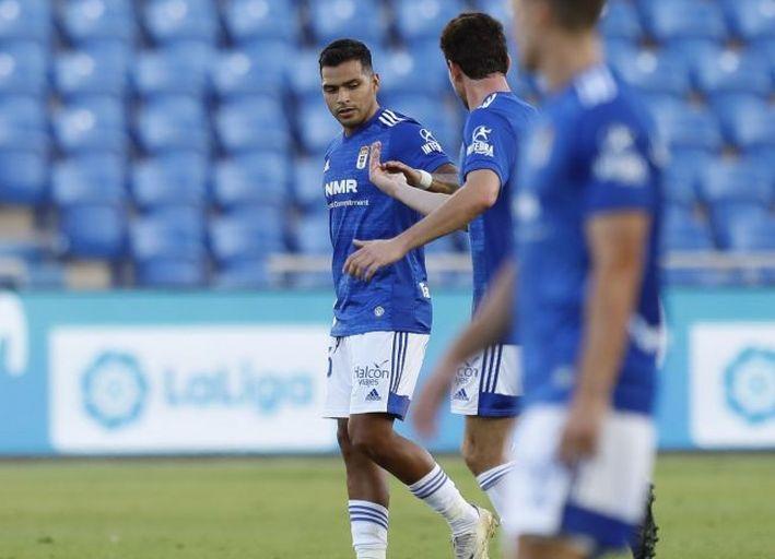 Nahuel celebra uno de sus goles en el Estadio de Gran Canaria