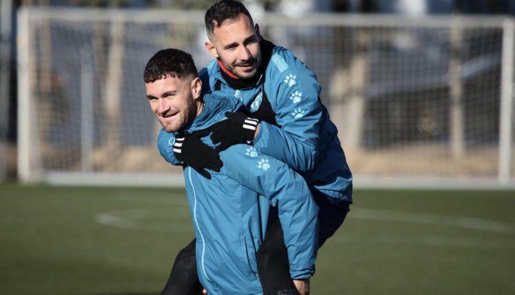 David Ferreiro en un entrenamiento de la SD Huesca