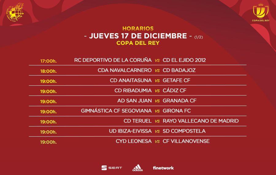 Primera parte de los horarios de los partidos del jueves de la primera ronda de Copa del Rey
