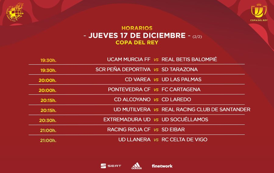 Segunda parte de los horarios de los partidos del jueves de la primera ronda de Copa del Rey