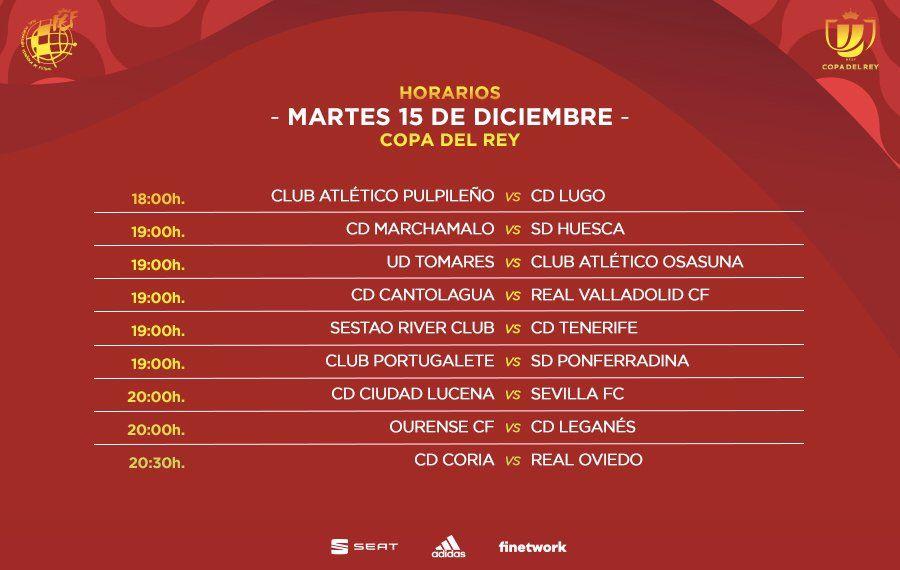 Horarios de los partidos del martes en Copa del Rey