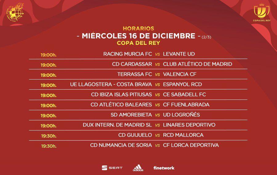 Segunda parte de los horarios de los partidos del miércoles de la primera ronda de Copa del Rey