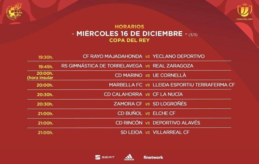 Tercera parte de los horarios de los partidos del miércoles de la primera ronda de Copa del Rey