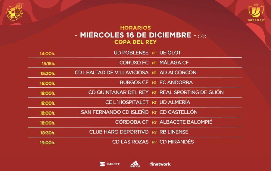 Primera parte de los horarios de los partidos del miércoles de la primera ronda de Copa del Rey