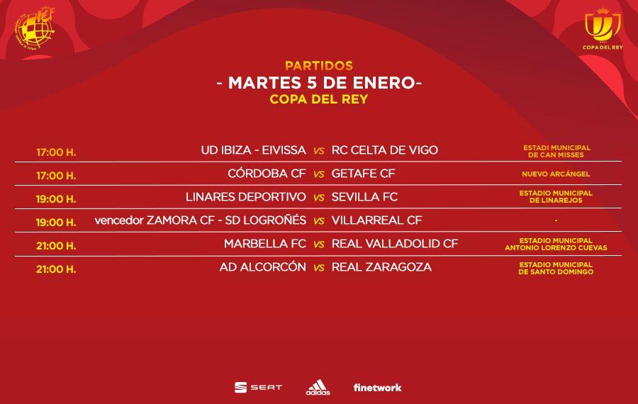 Horarios de los encuentros de Copa del 5 de enero