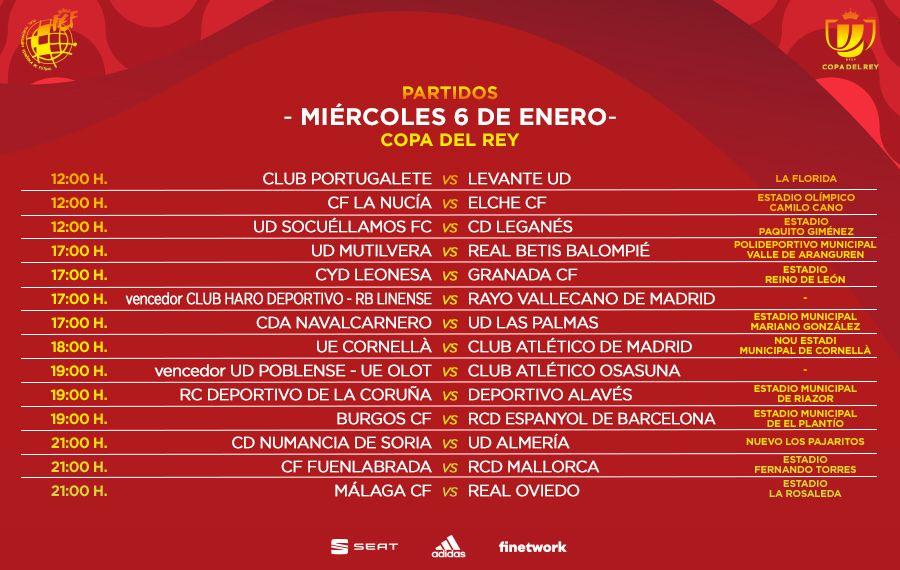 Horarios de la Copa para el miércoles 6