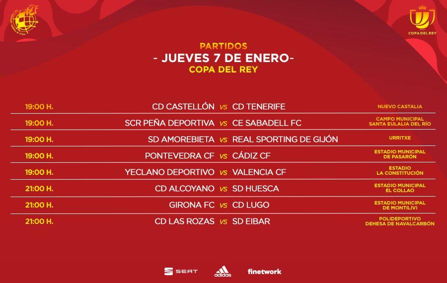 Horarios de la Copa del Rey para el jueves 7 de enero