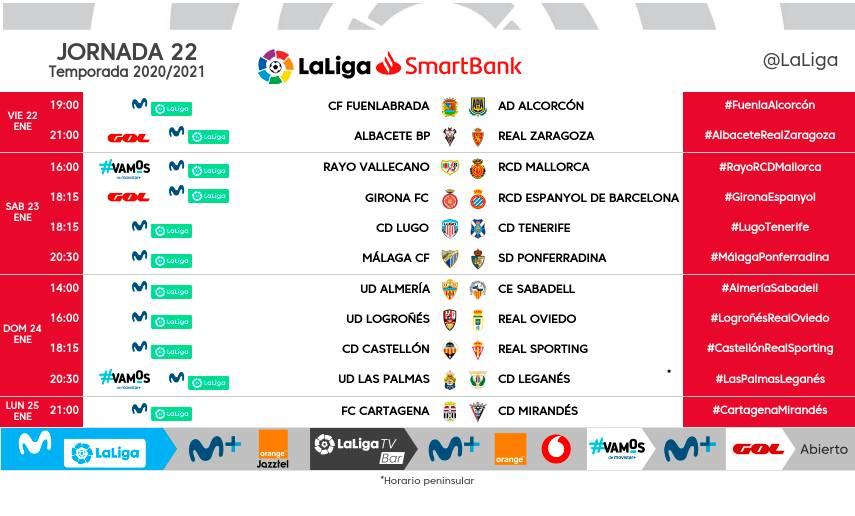 Horarios de la jornada 22 en LaLiga SmartBank